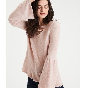 Pink bell sleeve American Eagle sweater